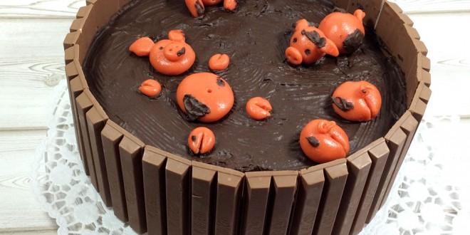 Schweinchen im Matschkübel Torte