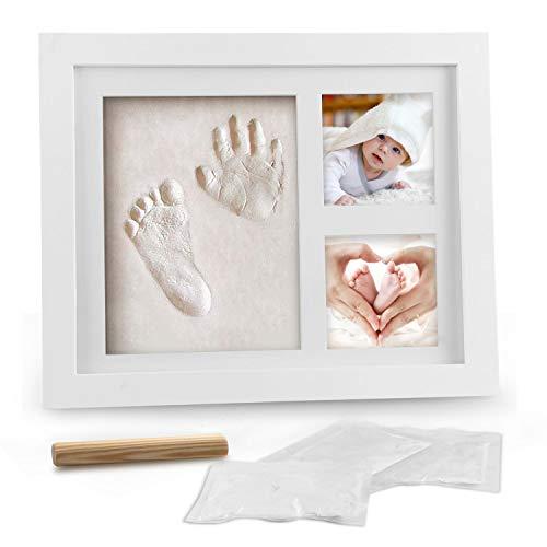 Baby Handabdruck und Fußabdruck, Migimi Baby Holz Bilderrahmen mit Gipsabdruck, Hand...