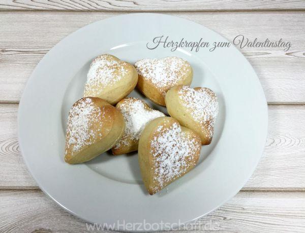 Herzige Ofenberliner/-krapfen zum Valentinstag